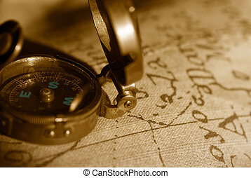 mapa, antiga, fundo, compasso