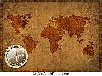 mapa, antiga, grunge, -, fundo, mundo