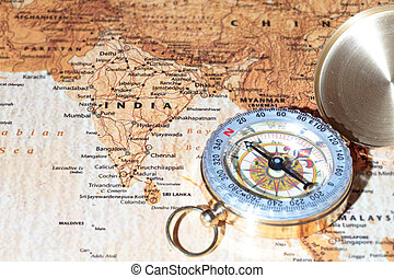 mapa, antiga, vindima, viaje destino, índia, compasso