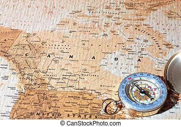 mapa, antiga, vindima, viaje destino, compasso, canadá