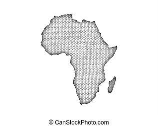 mapa, antigas, áfrica, linho
