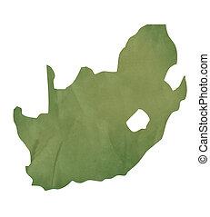 mapa, antigas, áfrica, papel, verde, sul