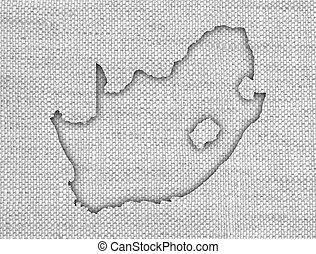 mapa, antigas, áfrica sul, linho