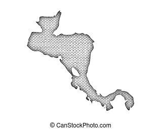 mapa, antigas, américa, central, linho