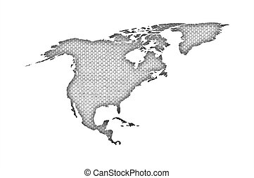 mapa, antigas, américa, norte, linho