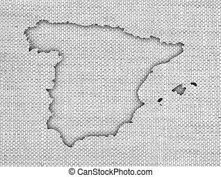 mapa, antigas, espanha, linho