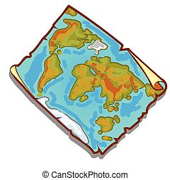 mapa, antigas, illustration., vindima, edges., papel rasgado, vetorial, enfraquecido, mundo, pedaço