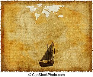 mapa, antigas, papel, retro, mundo, grunge