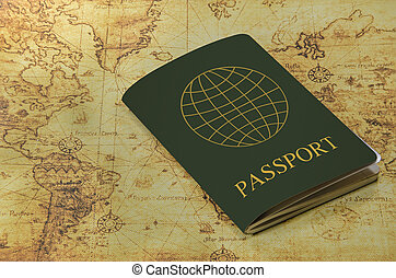 mapa, antigas, passaporte, mundo