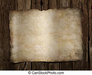 mapa, antigas, piratas, madeira, tesouro, em branco, escrivaninha