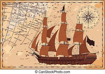 mapa, antigas, ship.