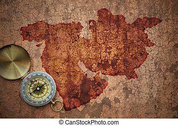 mapa, antigas, vindima, meio, papel, mideast, rachado, leste
