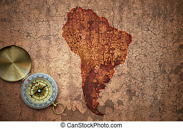 mapa, antigas, vindima, papel, fenda, américa, sul