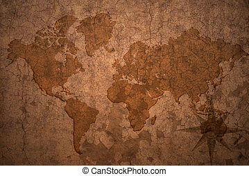 mapa, antigas, vindima, papel, fundo, fenda, mundo