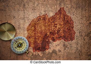 mapa, antigas, vindima, papel, ruanda, fenda
