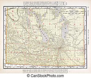 mapa antiguo, color, vendimia, manitoba, canadá