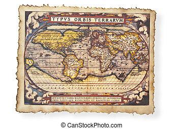 mapa antiguo, de, mundo