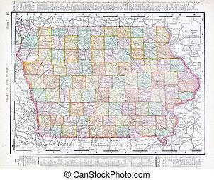 mapa antiguo, estados unidos de américa, color, iowa, vendimia