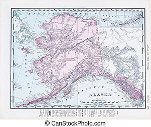mapa antiguo, estados unidos de américa, color, vendimia, ...