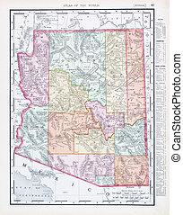 mapa antiguo, estados unidos de américa, color, vendimia, arizona