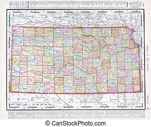 mapa antiguo, estados unidos de américa, color, vendimia, kansas