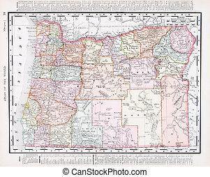 mapa antiguo, estados unidos de américa, color, vendimia, oregón