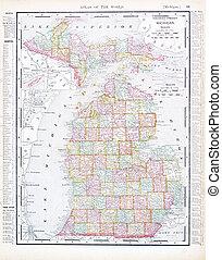 mapa antiguo, michigan, milla, estados unidos de américa, ...