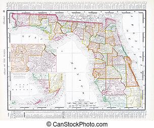 mapa antiguo, unido, florida, estados unidos de américa, ...