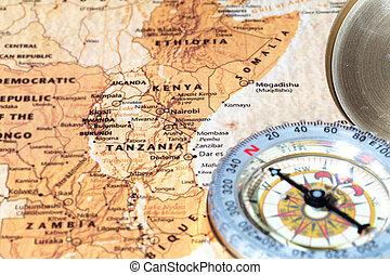 mapa, antiguo, vendimia, viaje destino, compás, tanzania, ...