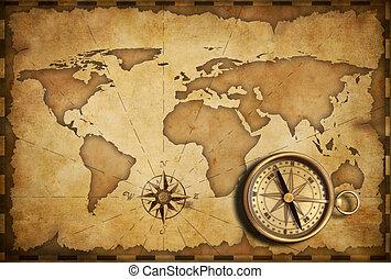 mapa antiguo, viejo, náutico, bolsillo, compás, latón, viejo
