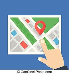 mapa, apontar, apartamento, mão., ilustração, localização, vetorial, concepts., navegação, design.