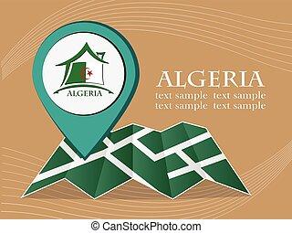 mapa, argélia, 10, eps, ilustração, bandeira, vetorial, ponteiro