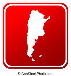 mapa, argentina, botón, rojo