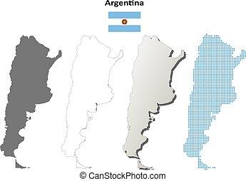 mapa,  Argentina, Conjunto, contorno