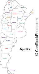 mapa,  Argentina, contorno