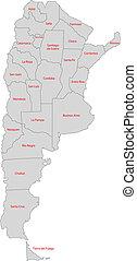 mapa, argentyna, szary
