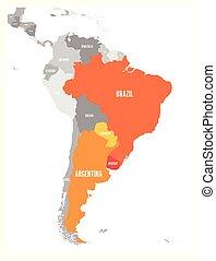 mapa, argetina., miembro, uruguay, diciembre, since,...