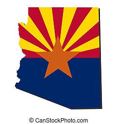 mapa arizona, bandeira, ilustração