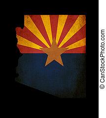 mapa, arizona, grunge, contorno, estados unidos de américa, estado, efecto, bandera, norteamericano