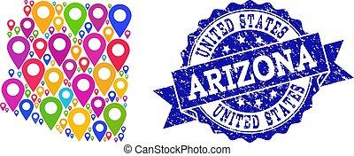mapa, arizona, selo, estado, textured, alfinetes, mosaico
