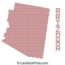 mapa, arizona, tečka