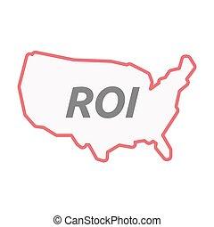 mapa, arte, eua, roi, acrônimo, isolado, retorno, linha, investimento