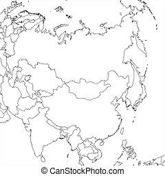 mapa, asia, blanco