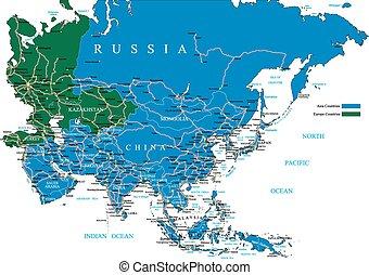 mapa, asia, camino