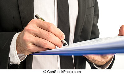 mapa, assinando, contrato negócio, documento, ou, homem