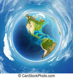 mapa, atmósfera, américa, día