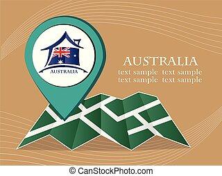 mapa, austrália, 10, eps, ilustração, bandeira, vetorial, ponteiro