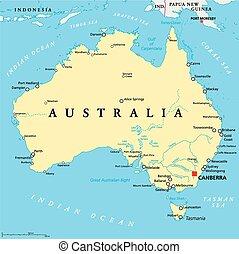 mapa, austrália, político