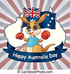 mapa, austrália, segurando, canguru, bandeira, fundo, dia, feliz