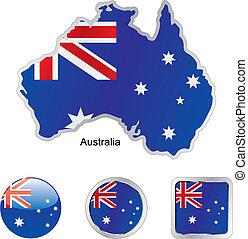 mapa, austrália, teia, botões, bandeira, formas